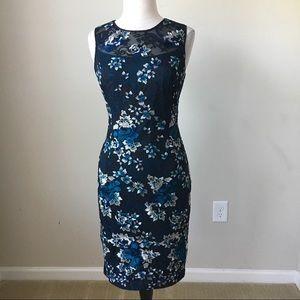 Sleeveless embroidered mesh sheath dress